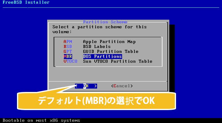 FreeBSD インストール MBR