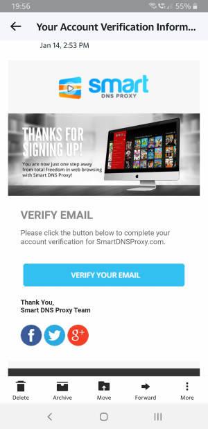Smart DNS Proxy メール確認