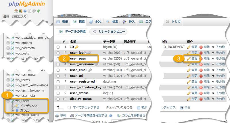 phpMyAdminからのWPパスワード変更